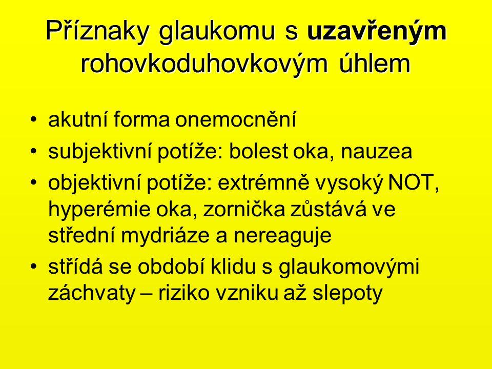 Příznaky glaukomu s uzavřeným rohovkoduhovkovým úhlem •akutní forma onemocnění •subjektivní potíže: bolest oka, nauzea •objektivní potíže: extrémně vy