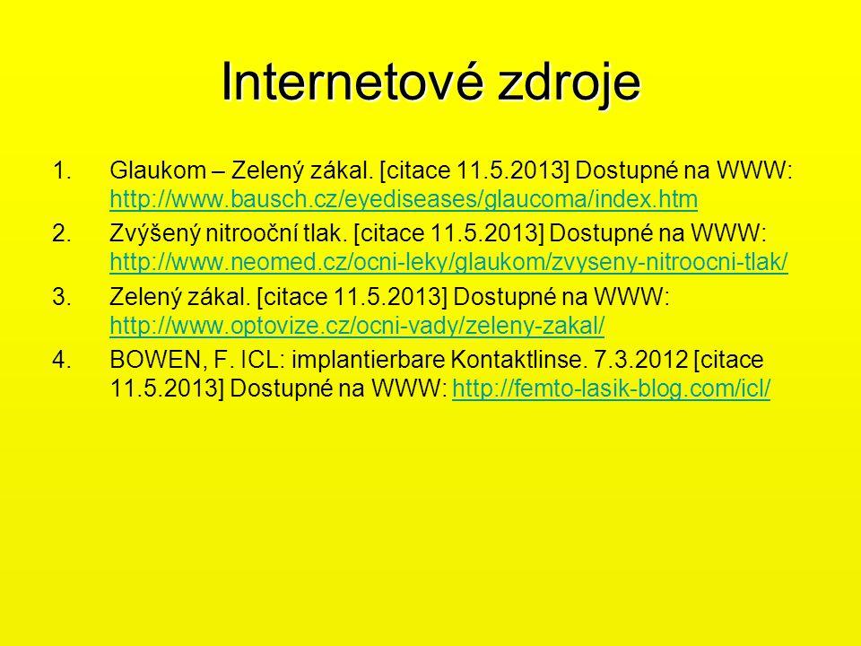 Internetové zdroje 1.Glaukom – Zelený zákal. [citace 11.5.2013] Dostupné na WWW: http://www.bausch.cz/eyediseases/glaucoma/index.htm http://www.bausch