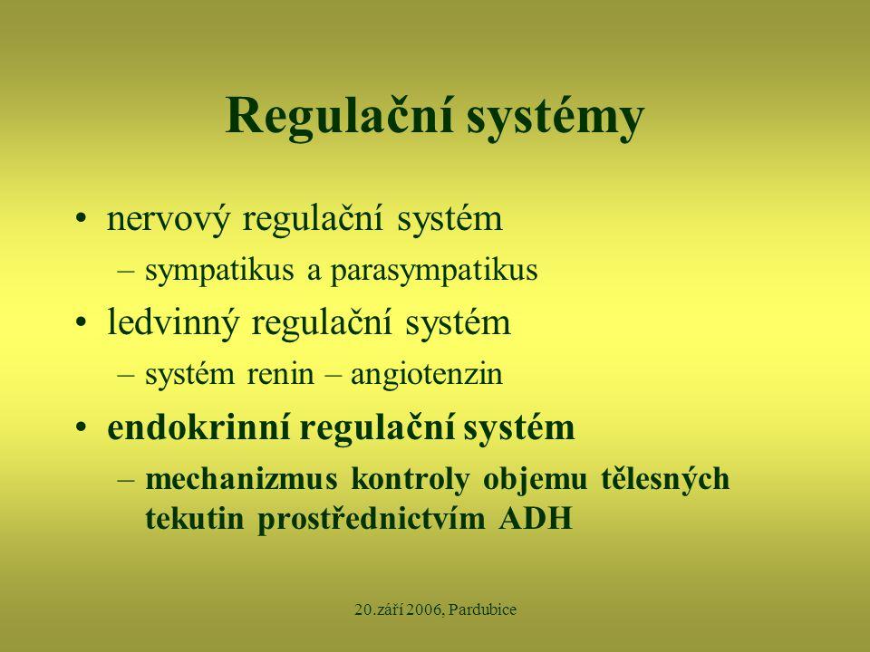 20.září 2006, Pardubice Regulační systémy •nervový regulační systém –sympatikus a parasympatikus •ledvinný regulační systém –systém renin – angiotenzi