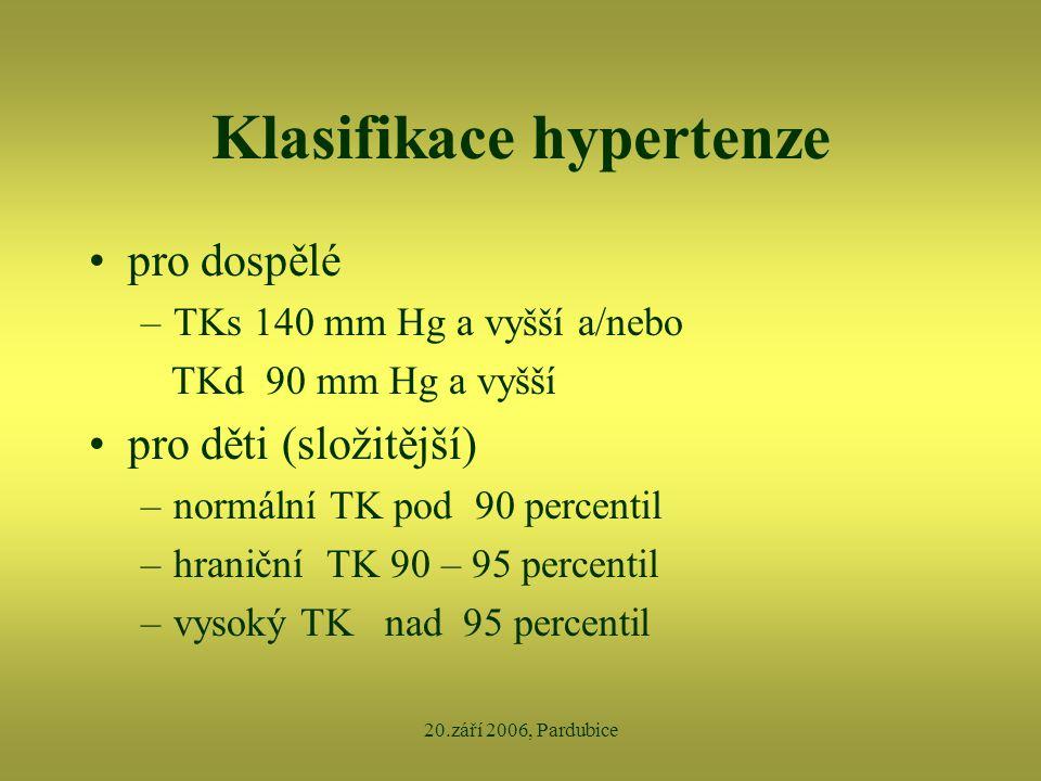 20.září 2006, Pardubice Klasifikace hypertenze •pro dospělé –TKs 140 mm Hg a vyšší a/nebo TKd 90 mm Hg a vyšší •pro děti (složitější) –normální TK pod