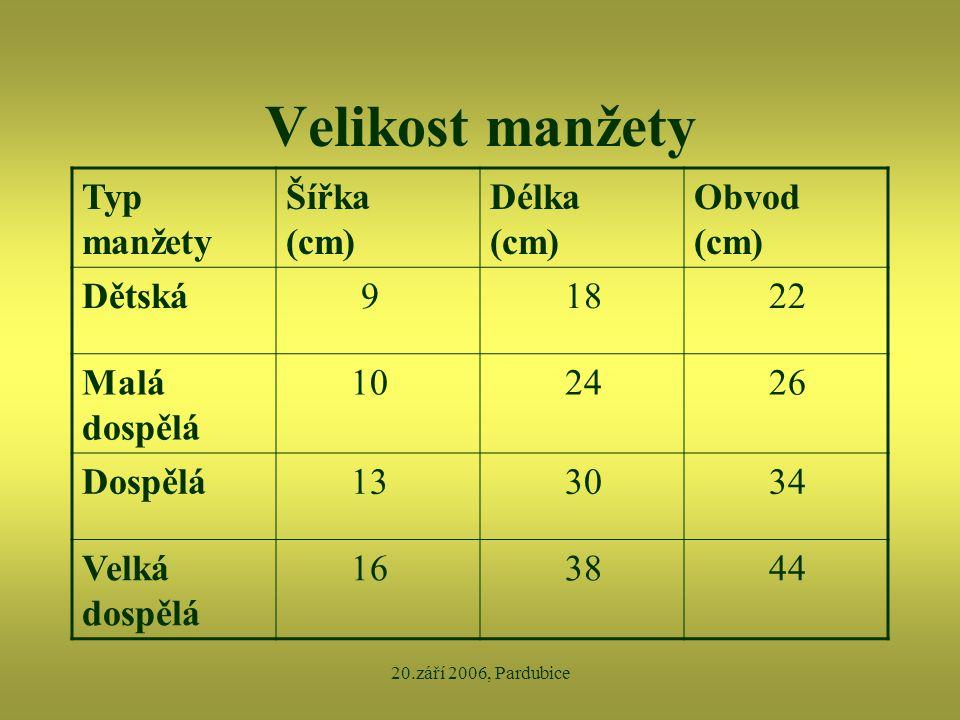 20.září 2006, Pardubice Velikost manžety Typ manžety Šířka (cm) Délka (cm) Obvod (cm) Dětská 9 18 22 Malá dospělá 10 24 26 Dospělá 13 30 34 Velká dosp