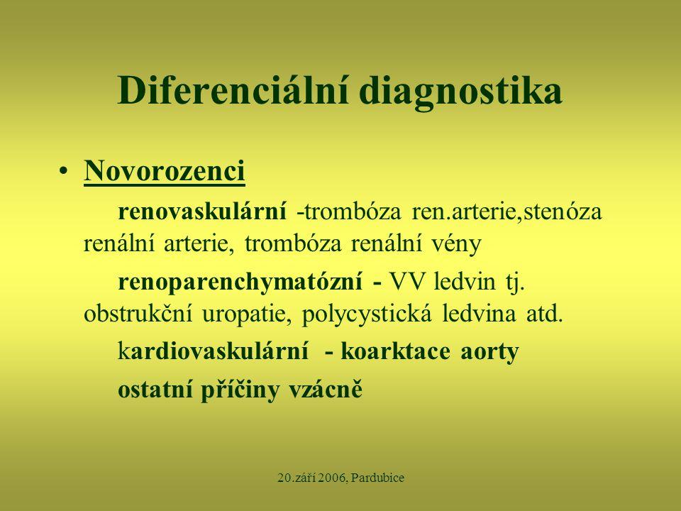 20.září 2006, Pardubice Diferenciální diagnostika •Novorozenci renovaskulární -trombóza ren.arterie,stenóza renální arterie, trombóza renální vény ren
