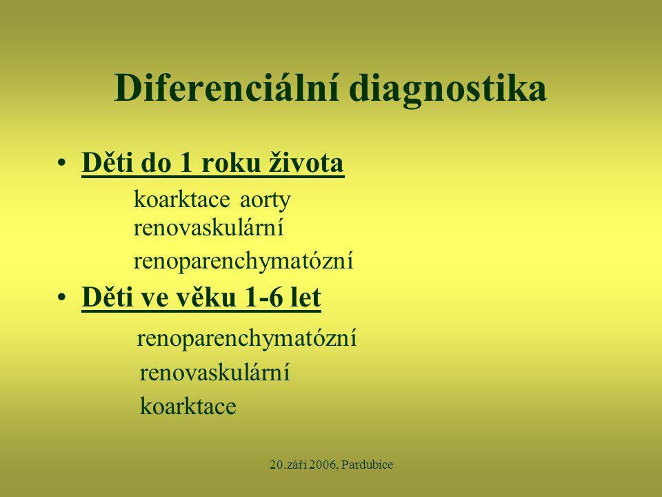 20.září 2006, Pardubice Diferenciální diagnostika •Děti do 1 roku života koarktace aorty renovaskulární renoparenchymatózní •Děti ve věku 1-6 let reno