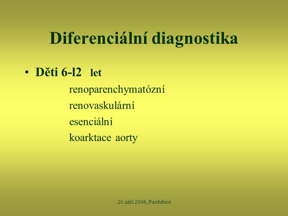 20.září 2006, Pardubice Diferenciální diagnostika •Děti 6-l2 let renoparenchymatózní renovaskulární esenciální koarktace aorty