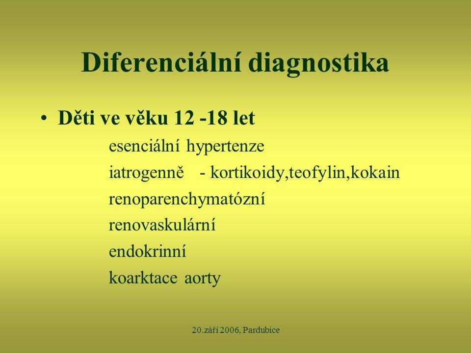 20.září 2006, Pardubice Diferenciální diagnostika •Děti ve věku 12 -18 let esenciální hypertenze iatrogenně - kortikoidy,teofylin,kokain renoparenchym