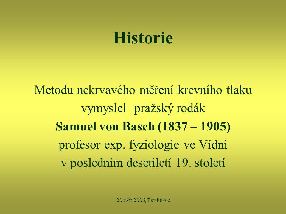 20.září 2006, Pardubice Historie Metodu nekrvavého měření krevního tlaku vymyslel pražský rodák Samuel von Basch (1837 – 1905) profesor exp. fyziologi