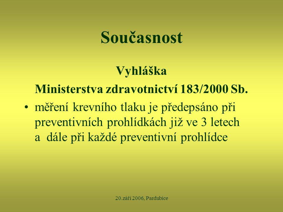 20.září 2006, Pardubice Současnost Vyhláška Ministerstva zdravotnictví 183/2000 Sb. •měření krevního tlaku je předepsáno při preventivních prohlídkách