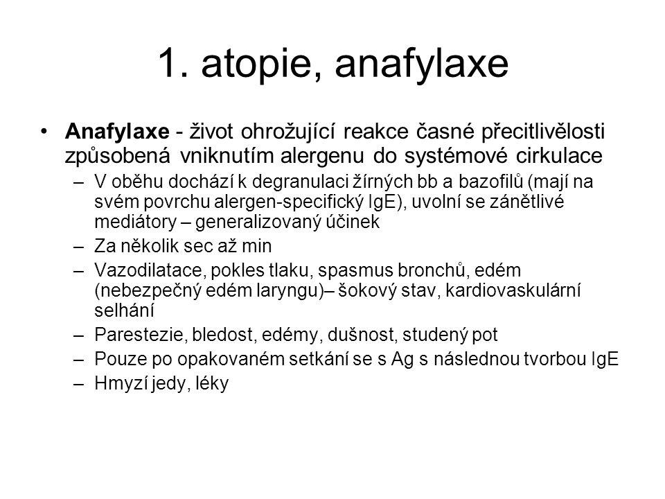 1. atopie, anafylaxe •Anafylaxe - život ohrožující reakce časné přecitlivělosti způsobená vniknutím alergenu do systémové cirkulace –V oběhu dochází k