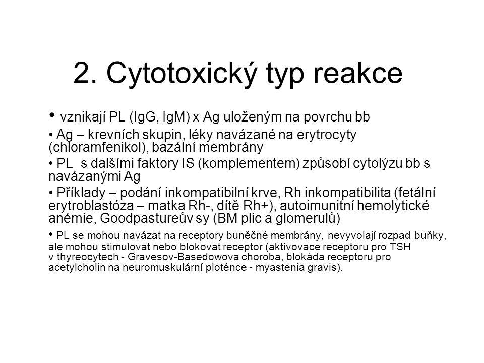 2. Cytotoxický typ reakce • vznikají PL (IgG, IgM) x Ag uloženým na povrchu bb • Ag – krevních skupin, léky navázané na erytrocyty (chloramfenikol), b