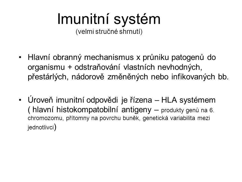 Imunitní systém (velmi stručné shrnutí) •Hlavní obranný mechanismus x průniku patogenů do organismu + odstraňování vlastních nevhodných, přestárlých,