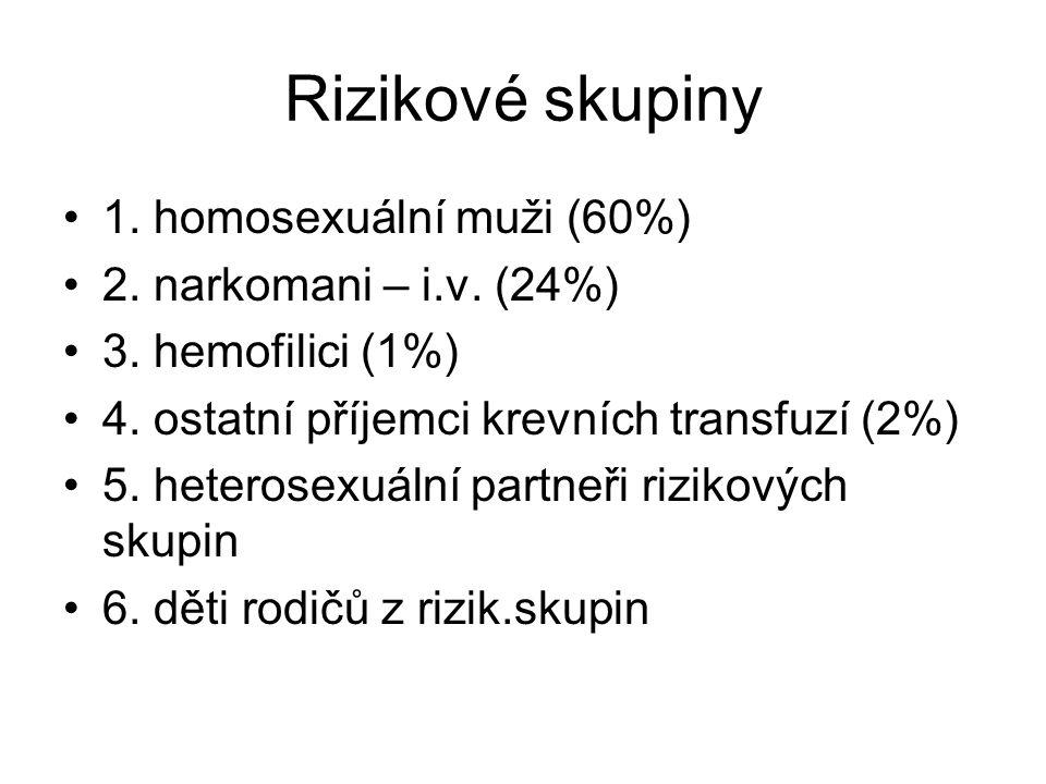 Rizikové skupiny •1. homosexuální muži (60%) •2. narkomani – i.v. (24%) •3. hemofilici (1%) •4. ostatní příjemci krevních transfuzí (2%) •5. heterosex