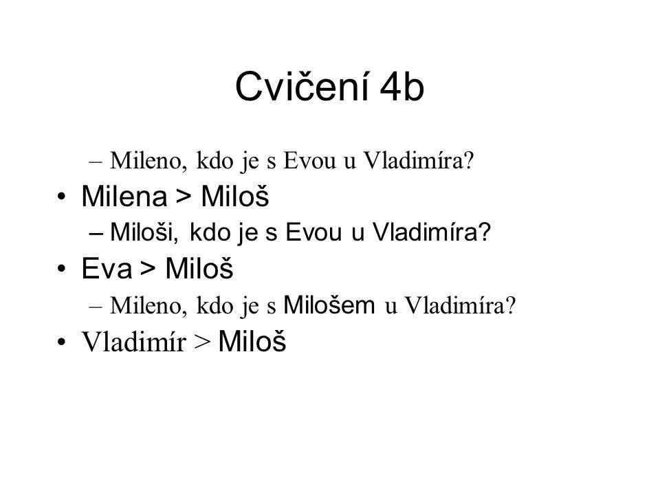 Cvičení 4b –Mileno, kdo je s Evou u Vladimíra.•Milena > Miloš –Miloši, kdo je s Evou u Vladimíra.