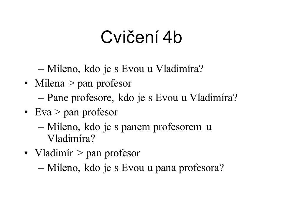 Cvičení 4b –Mileno, kdo je s Evou u Vladimíra.