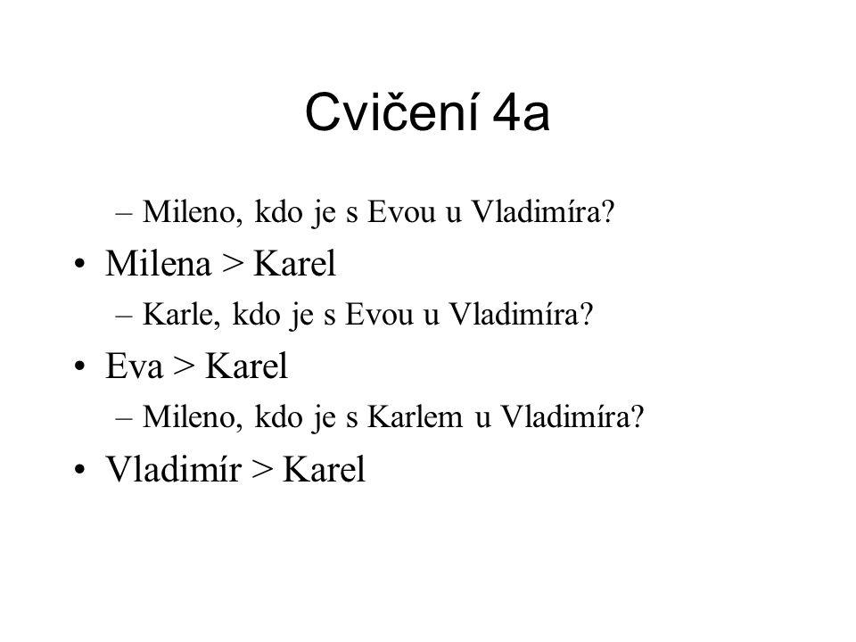 Cvičení 4a –Mileno, kdo je s Evou u Vladimíra.•Milena > Karel –Karle, kdo je s Evou u Vladimíra.