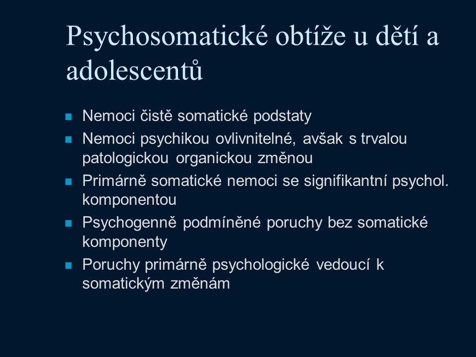 Psychosomatické obtíže u dětí a adolescentů n Nemoci čistě somatické podstaty n Nemoci psychikou ovlivnitelné, avšak s trvalou patologickou organickou