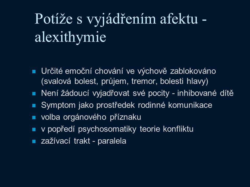 Potíže s vyjádřením afektu - alexithymie n Určité emoční chování ve výchově zablokováno (svalová bolest, průjem, tremor, bolesti hlavy) n Není žádoucí