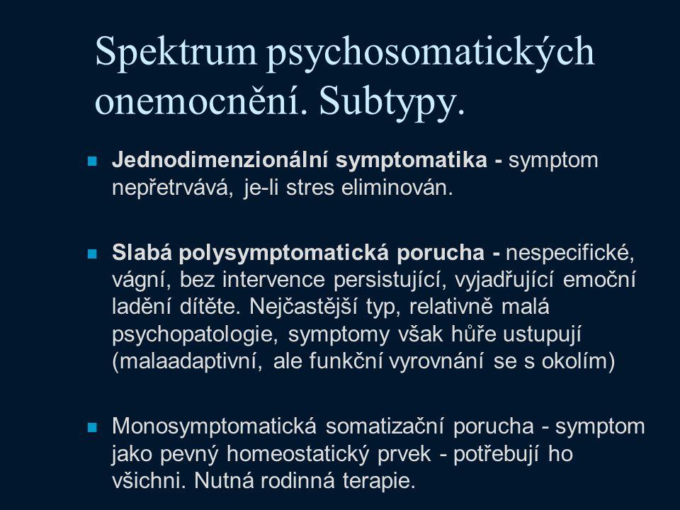 Spektrum psychosomatických onemocnění. Subtypy. n Jednodimenzionální symptomatika - symptom nepřetrvává, je-li stres eliminován. n Slabá polysymptomat