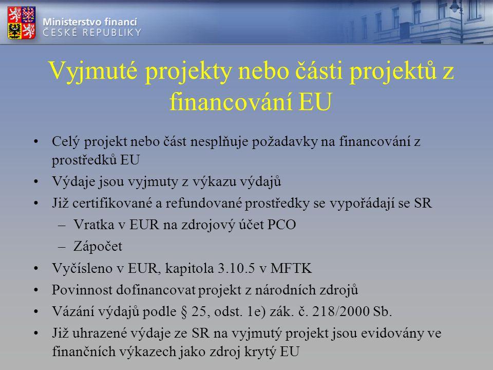 Vyjmuté projekty nebo části projektů z financování EU •Celý projekt nebo část nesplňuje požadavky na financování z prostředků EU •Výdaje jsou vyjmuty