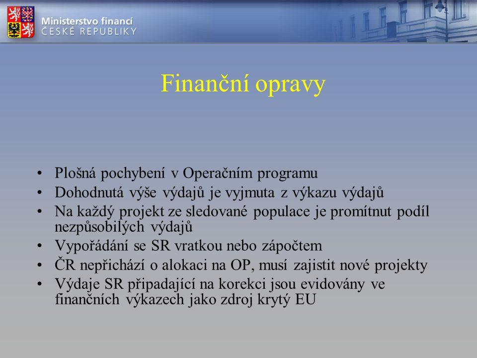 Finanční opravy •Plošná pochybení v Operačním programu •Dohodnutá výše výdajů je vyjmuta z výkazu výdajů •Na každý projekt ze sledované populace je pr