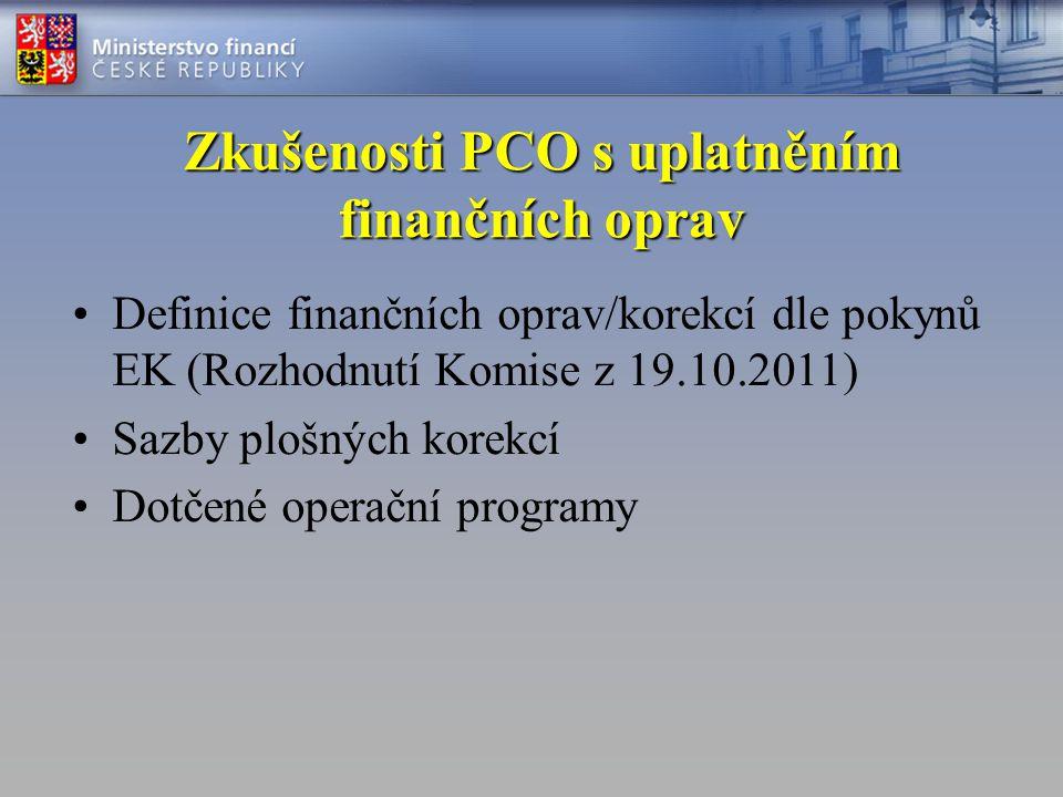 Zkušenosti PCO s uplatněním finančních oprav •Definice finančních oprav/korekcí dle pokynů EK (Rozhodnutí Komise z 19.10.2011) •Sazby plošných korekcí