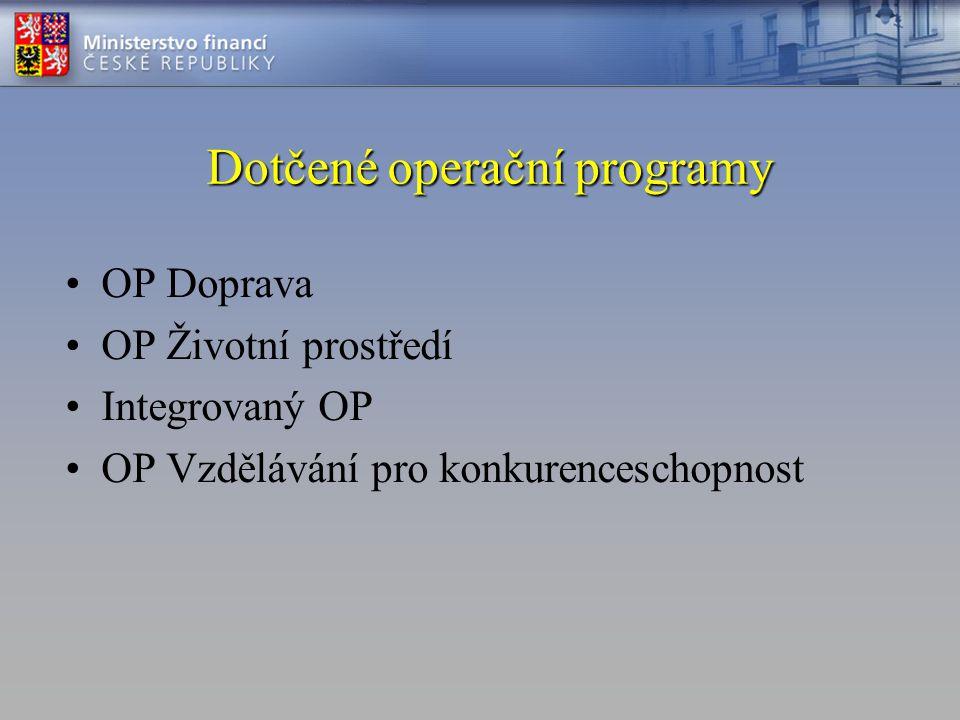 Dotčené operační programy •OP Doprava •OP Životní prostředí •Integrovaný OP •OP Vzdělávání pro konkurenceschopnost