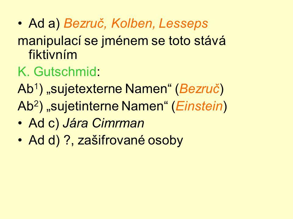•Ad a) Bezruč, Kolben, Lesseps manipulací se jménem se toto stává fiktivním K.