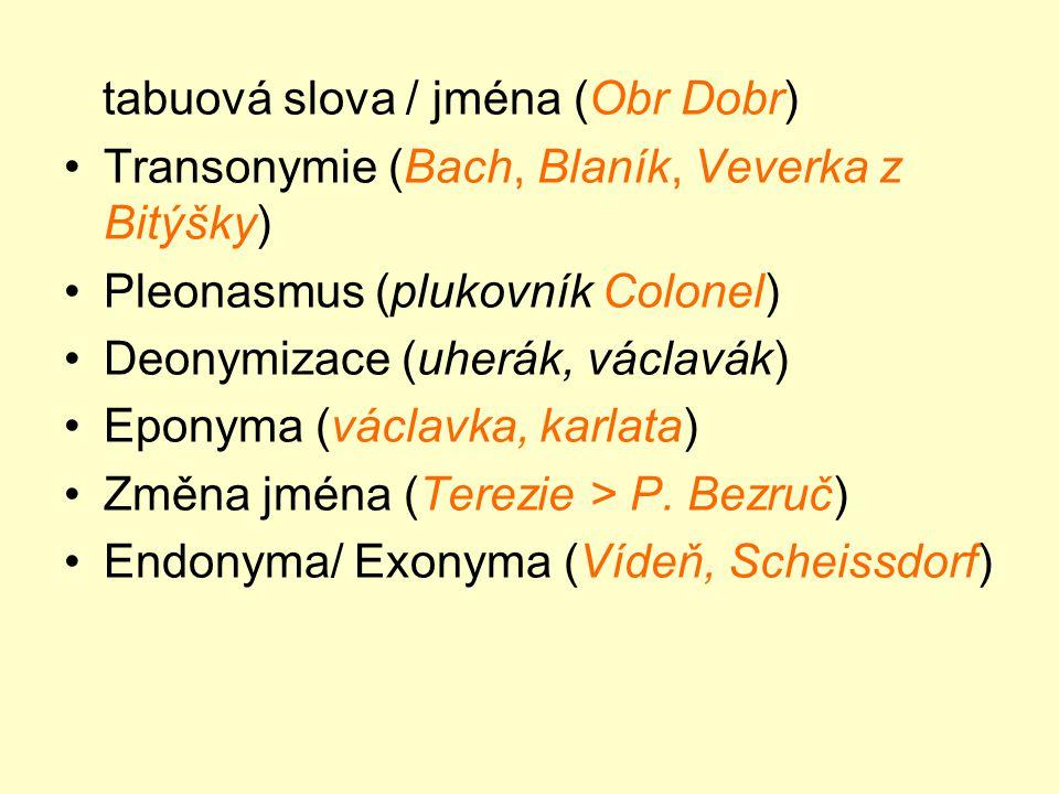 tabuová slova / jména (Obr Dobr) •Transonymie (Bach, Blaník, Veverka z Bitýšky) •Pleonasmus (plukovník Colonel) •Deonymizace (uherák, václavák) •Eponyma (václavka, karlata) •Změna jména (Terezie > P.