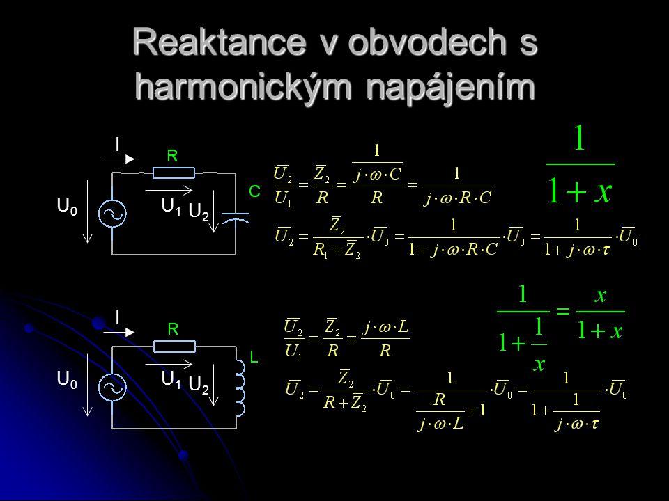 Reaktance v obvodech s harmonickým napájením U0U0 I U1U1 U2U2 U0U0 I U1U1 U2U2