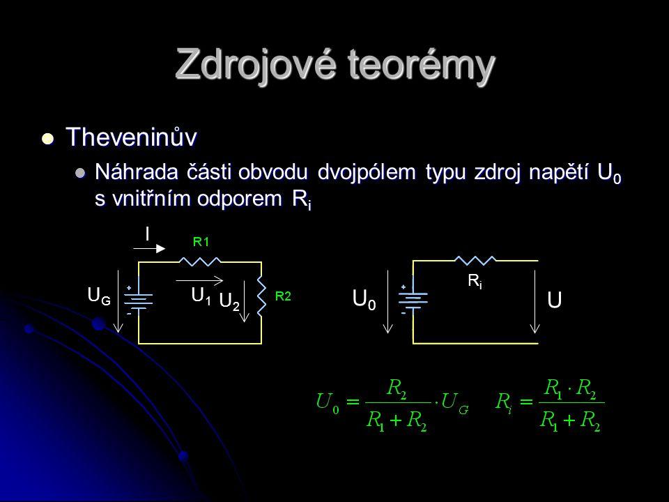 Zdrojové teorémy  Nortonův  Náhrada části obvodu dvojpólem typu zdroj proudu I 0 se svodem R G RGRG I0I0 I UGUG I U1U1 U2U2 Napětí naprázdno, proud nakrátko a impedance z pohledu výstupních svorek musí být SHODNÉ!