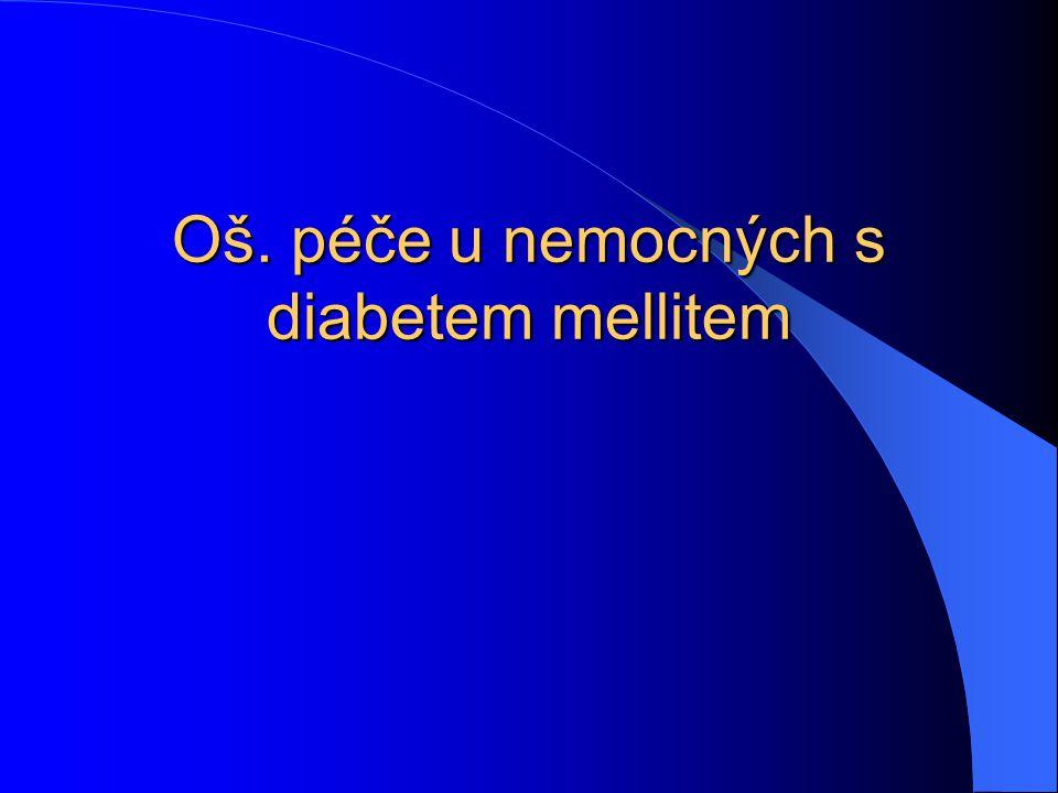 Vyšetřovací metody  Glykemický profil – měří se hodnota glykemií v určitých časech  Glykovaný Hb = glukóza v ery nahromaděná během jejich života, sledování kompenzace DM  C-peptid – důkaz tvorby inzulinu  pH krve – může být snížené 6,8 (norma 7,36-7,44)  Oční pozadí, lipidy, moč – kvalitativní (glykosurie, ketonurie), kvantitativní (polar, 3 porce)