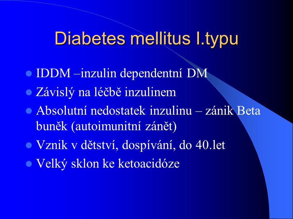 Diabetes mellitus II.typu  NIDDM – non inzulin dependentní DM  Relativní nedostatek inzulinu (vysoký přísun cukrů – inzulin nestačí) nebo necitlivost inzulinových receptorů (inzulinová rezistence)  Vznik dospělosti, po 40.roce, obezita  Není závislý na inzulinu  Dieta, PAD, inzulin, zhubnutí