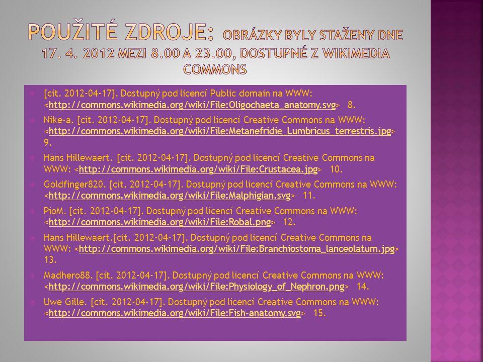  [cit. 2012-04-17]. Dostupný pod licencí Public domain na WWW: 8.http://commons.wikimedia.org/wiki/File:Oligochaeta_anatomy.svg  Nike-a. [cit. 2012-