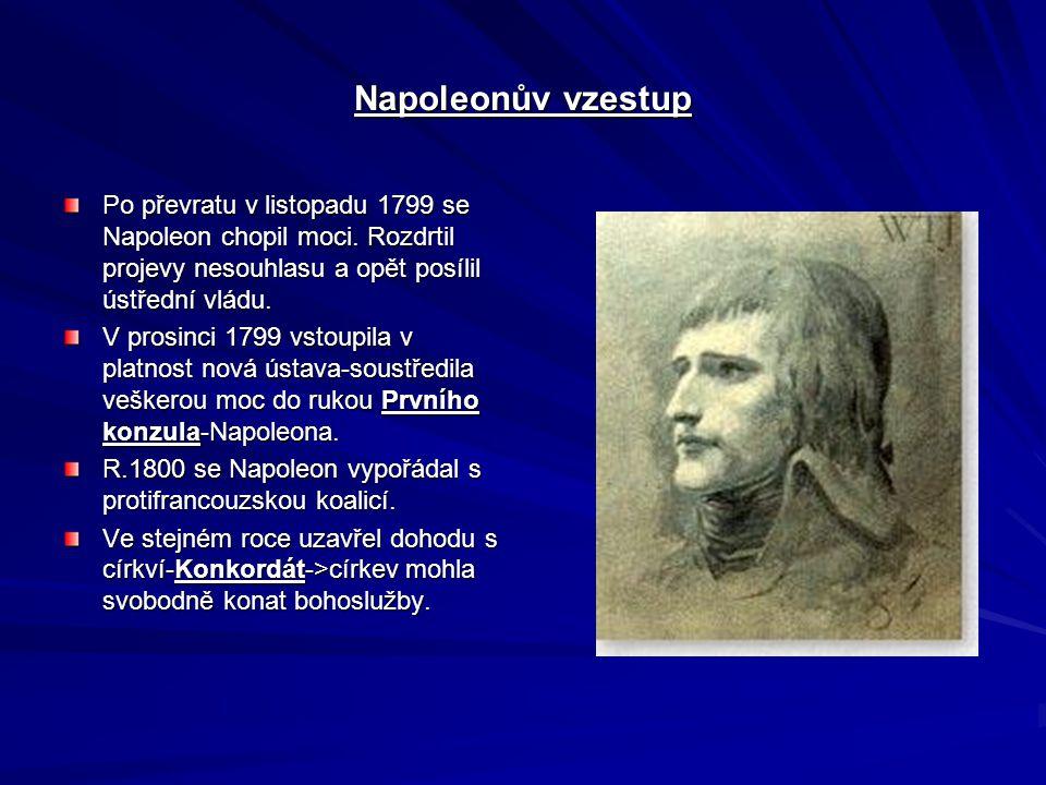 Napoleonův vzestup Po převratu v listopadu 1799 se Napoleon chopil moci.