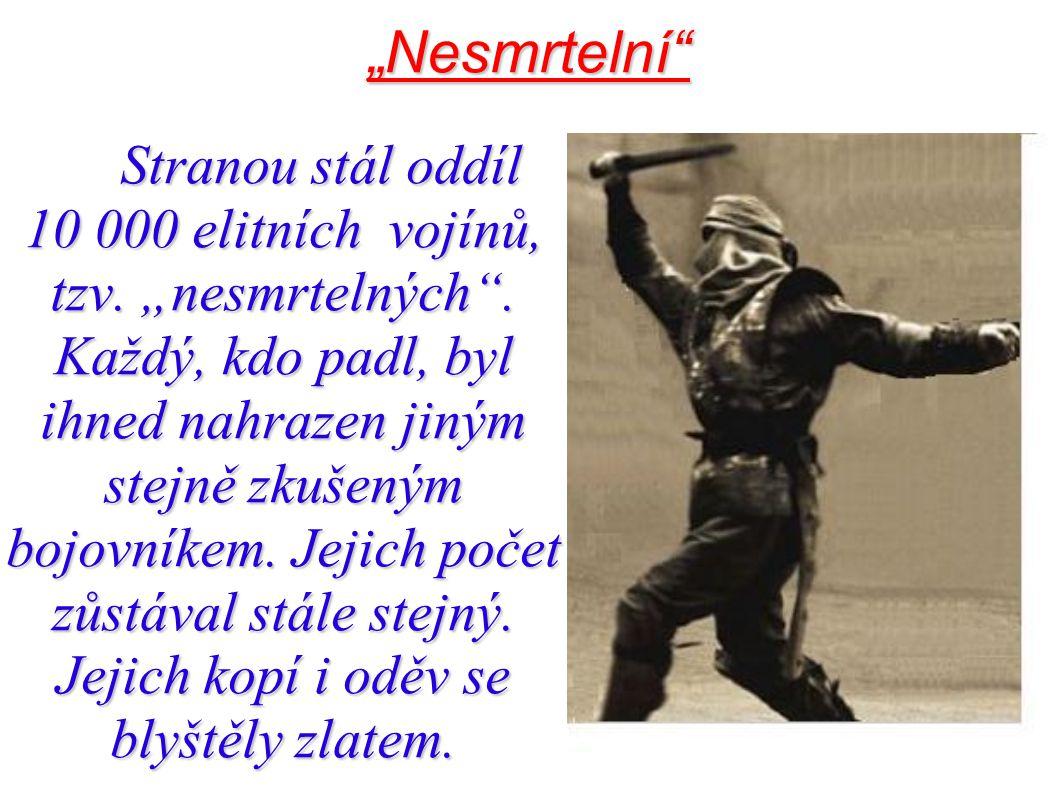 """""""Nesmrtelní"""" Stranou stál oddíl 10 000 elitních vojínů, tzv. """"nesmrtelných"""". Každý, kdo padl, byl ihned nahrazen jiným stejně zkušeným bojovníkem. Jej"""