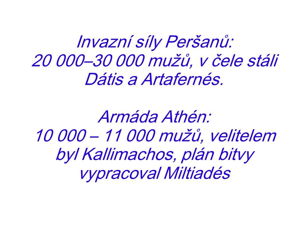 Invazní síly Peršanů: 20 000–30 000 mužů, v čele stáli Dátis a Artafernés. Armáda Athén: 10 000 – 11 000 mužů, velitelem byl Kallimachos, plán bitvy v