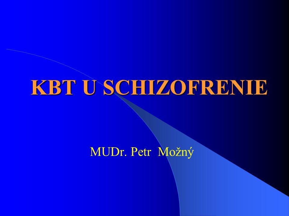 Behaviorální RT schizofrenie (Falloon a kol., 1984) 1) Výukový program (2 sezení) 2) Nácvik komunikace (12 sezení) a) Sdělovat pozitivní pocity a informace b) Sdělovat negativní pocity a informace c) Požádat druhé o změnu určitého chování d) Naslouchat druhým, když k nim mluví 3) Nácvik řešení problémů (10 sezení) 3) Nácvik řešení problémů (10 sezení) a) Vymezení problému b) Několik možností řešení problému c) Výhody a nevýhody každého navrženého řešení d) Zvolení určitého řešení problému e) Plán uskutečnění zvoleného řešení f) Zhodnocení výsledku a ocenění vynaloženého úsilí