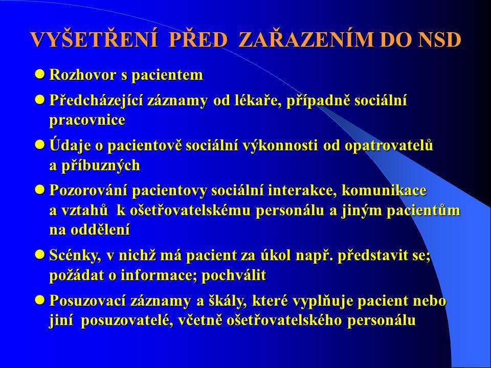 VYŠETŘENÍ PŘED ZAŘAZENÍM DO NSD  Rozhovor s pacientem  Předcházející záznamy od lékaře, případně sociální pracovnice  Údaje o pacientově sociální v