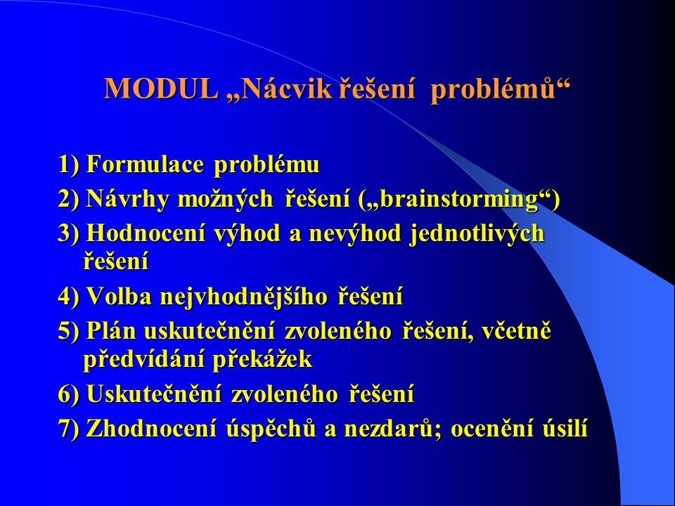 """MODUL """"Nácvik řešení problémů 1) Formulace problému 2) Návrhy možných řešení (""""brainstorming ) 3) Hodnocení výhod a nevýhod jednotlivých řešení 4) Volba nejvhodnějšího řešení 5) Plán uskutečnění zvoleného řešení, včetně předvídání překážek 6) Uskutečnění zvoleného řešení 7) Zhodnocení úspěchů a nezdarů; ocenění úsilí"""