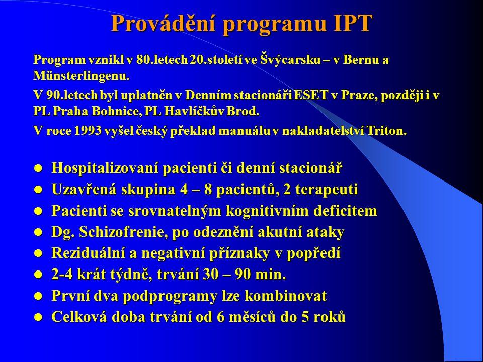 Provádění programu IPT  Hospitalizovaní pacienti či denní stacionář  Uzavřená skupina 4 – 8 pacientů, 2 terapeuti  Pacienti se srovnatelným kognitivním deficitem  Dg.