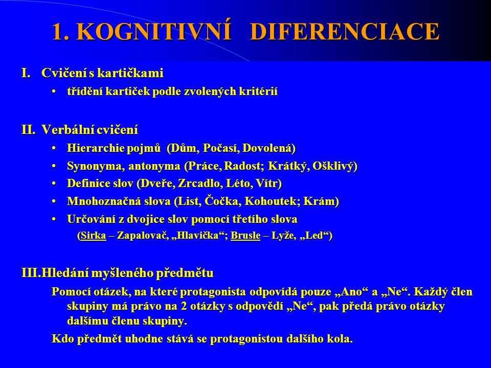 1. KOGNITIVNÍ DIFERENCIACE I.Cvičení s kartičkami •třídění kartiček podle zvolených kritérií II.Verbální cvičení •Hierarchie pojmů (Dům, Počasí, Dovol