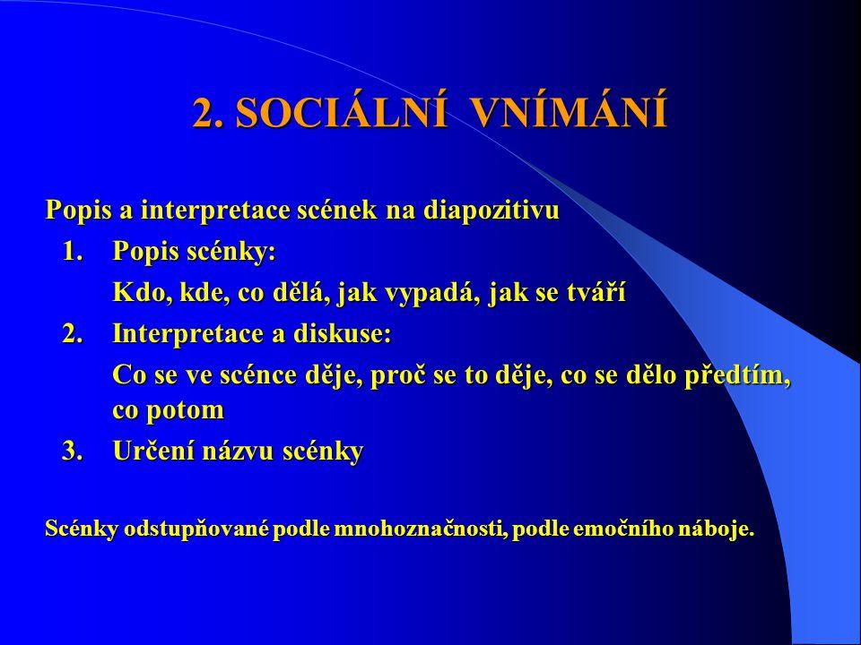 2. SOCIÁLNÍ VNÍMÁNÍ Popis a interpretace scének na diapozitivu 1.Popis scénky: Kdo, kde, co dělá, jak vypadá, jak se tváří 2.Interpretace a diskuse: C