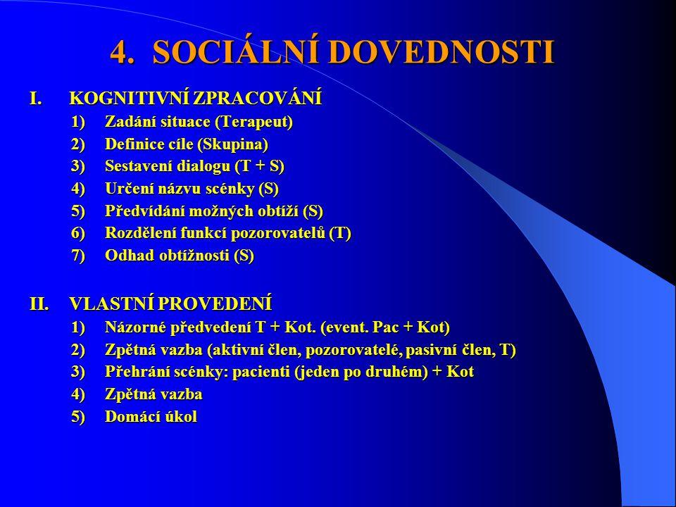 4. SOCIÁLNÍ DOVEDNOSTI I.KOGNITIVNÍ ZPRACOVÁNÍ 1)Zadání situace (Terapeut) 2)Definice cíle (Skupina) 3)Sestavení dialogu (T + S) 4)Určení názvu scénky