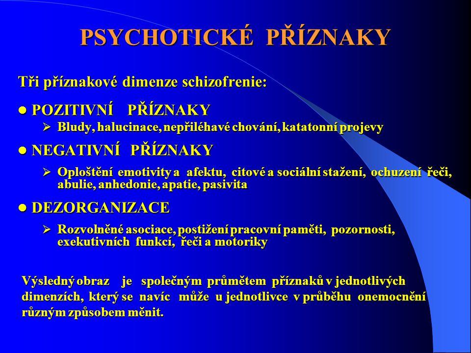 PSYCHOTICKÉ PŘÍZNAKY Tři příznakové dimenze schizofrenie:  POZITIVNÍ PŘÍZNAKY  Bludy, halucinace, nepřiléhavé chování, katatonní projevy  NEGATIVNÍ PŘÍZNAKY  Oploštění emotivity a afektu, citové a sociální stažení, ochuzení řeči, abulie, anhedonie, apatie, pasivita  DEZORGANIZACE  Rozvolněné asociace, postižení pracovní paměti, pozornosti, exekutivních funkcí, řeči a motoriky Výsledný obraz je společným průmětem příznaků v jednotlivých dimenzích, který se navíc může u jednotlivce v průběhu onemocnění různým způsobem měnit.