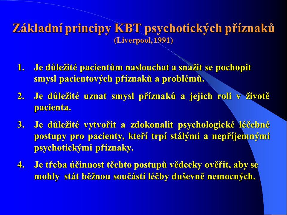 Základní principy KBT psychotických příznaků (Liverpool, 1991) 1.Je důležité pacientům naslouchat a snažit se pochopit smysl pacientových příznaků a p