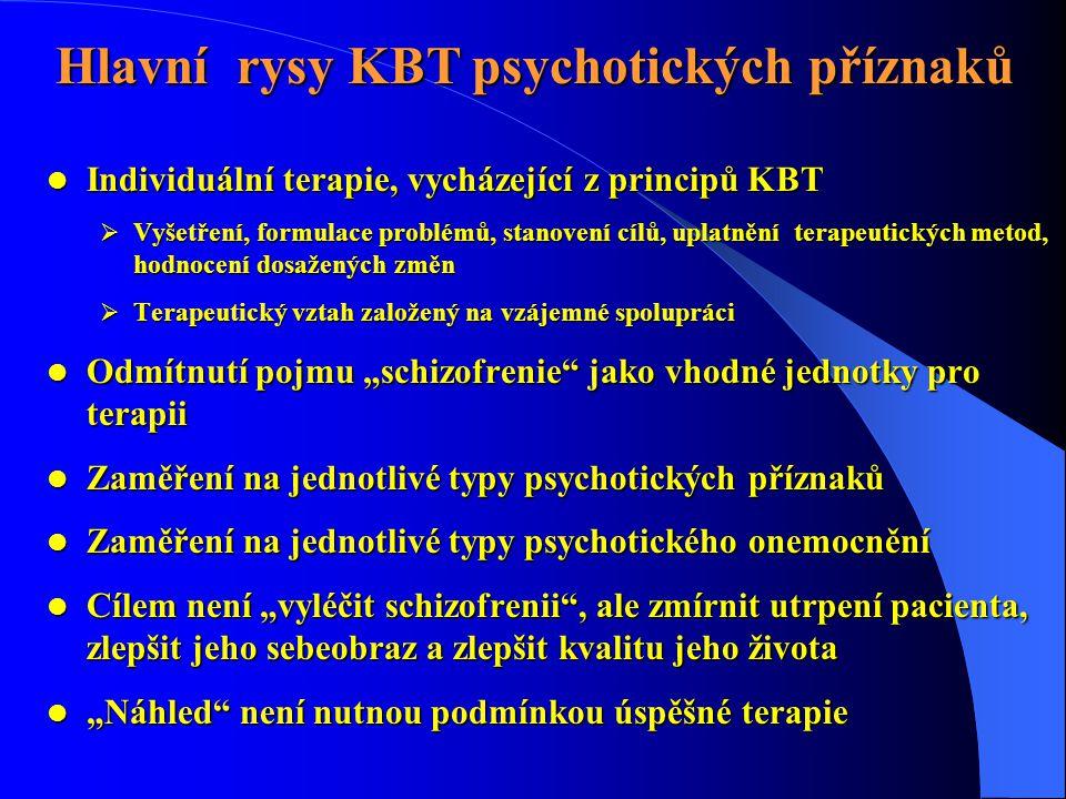  Individuální terapie, vycházející z principů KBT  Vyšetření, formulace problémů, stanovení cílů, uplatnění terapeutických metod, hodnocení dosažený