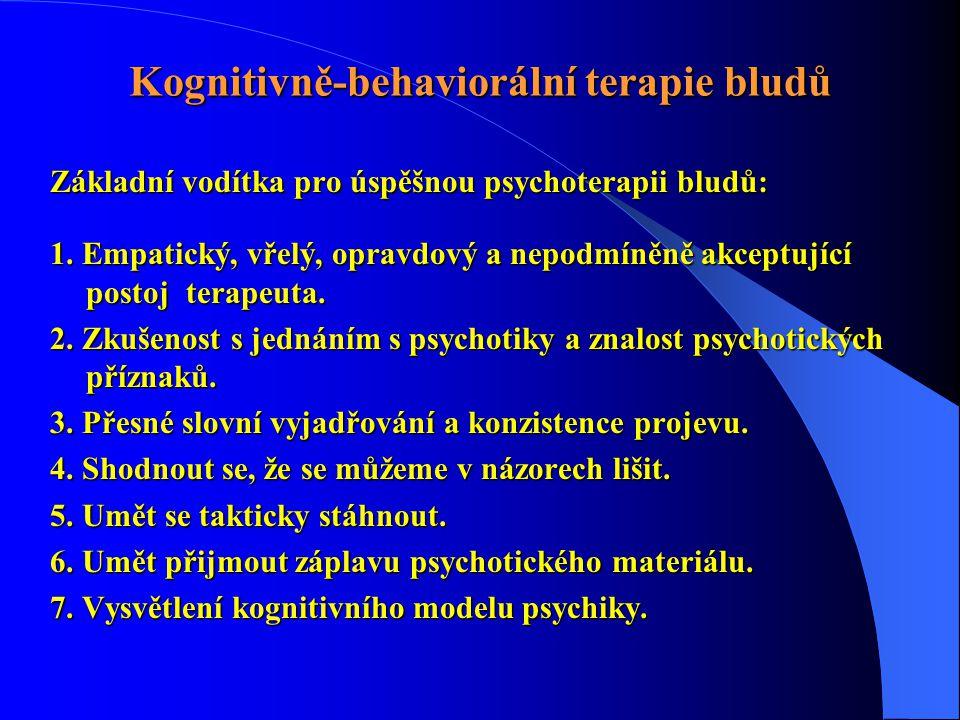 Kognitivně-behaviorální terapie bludů Základní vodítka pro úspěšnou psychoterapii bludů: 1. Empatický, vřelý, opravdový a nepodmíněně akceptující post