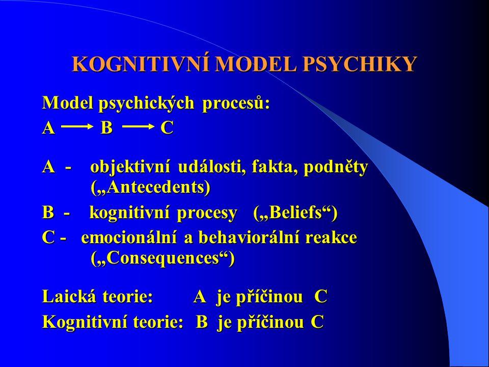 """KOGNITIVNÍ MODEL PSYCHIKY Model psychických procesů: A B C A - objektivní události, fakta, podněty (""""Antecedents) B - kognitivní procesy (""""Beliefs"""") C"""