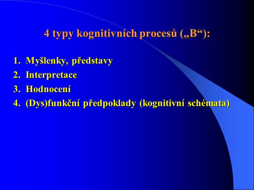 """4 typy kognitivních procesů (""""B""""): 1. Myšlenky, představy 2. Interpretace 3. Hodnocení 4. (Dys)funkční předpoklady (kognitivní schémata)"""
