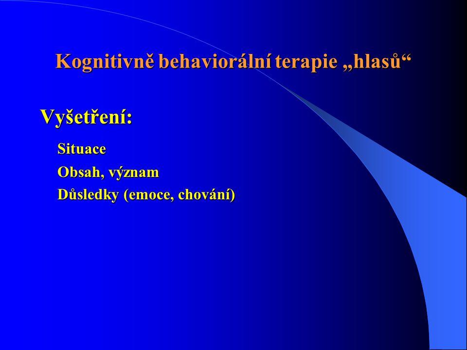 """Kognitivně behaviorální terapie """"hlasů"""" Vyšetření: Situace Obsah, význam Důsledky (emoce, chování)"""
