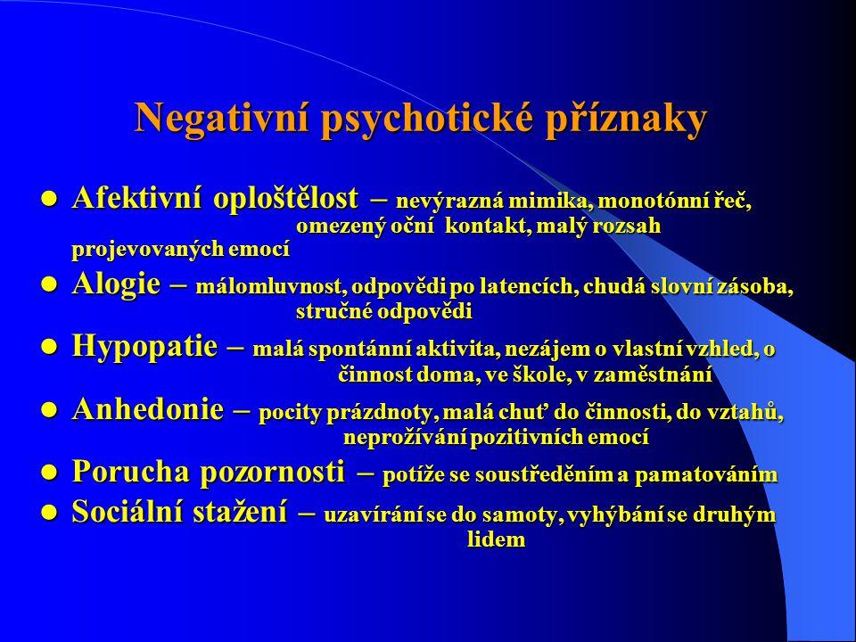 Negativní psychotické příznaky  Afektivní oploštělost – nevýrazná mimika, monotónní řeč, omezený oční kontakt, malý rozsah projevovaných emocí  Alogie – málomluvnost, odpovědi po latencích, chudá slovní zásoba, stručné odpovědi  Hypopatie – malá spontánní aktivita, nezájem o vlastní vzhled, o činnost doma, ve škole, v zaměstnání  Anhedonie – pocity prázdnoty, malá chuť do činnosti, do vztahů, neprožívání pozitivních emocí  Porucha pozornosti – potíže se soustředěním a pamatováním  Sociální stažení – uzavírání se do samoty, vyhýbání se druhým lidem